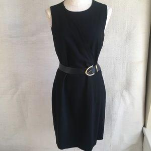 Theory sz8 Wool Work Dress Minimalist Black Sheath